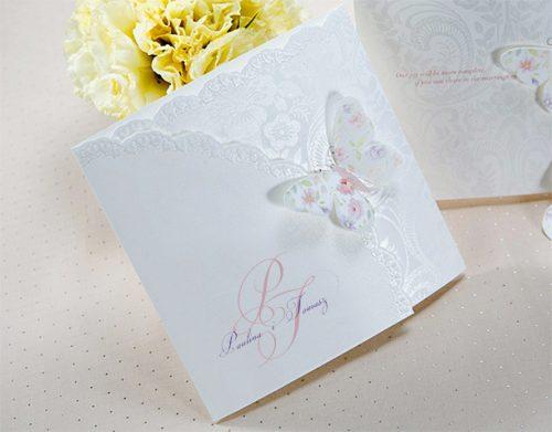 Partecipazioni Matrimonio Farfalle.Partecipazione Matrimonio Romantico T1134 Partecipazioni